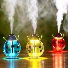 Portable USB Personal Aroma Humidifier Air Purifier Cute LED Beetles Ladybug