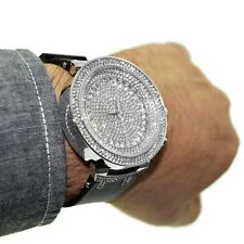Men's Hip Hop Watch Micro Pave Iced Out Big Round Silver Tone Men Heavy Bling