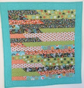 "SALE Quilt, Baby, Wheelchair,size 34""x36 1/2"", Turquoise, Green, Bright stars"