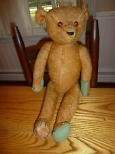 """Antique Early Teddy Bear Shoe Button Eyes Jointed Long Arms Pointy Nose 22"""" Tall"""