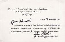 # CARABINIERI: 1989 UFF. PUBBLICHE RELAZIONI - IL Col. ZOCCHI  LASCIA L'UFFICIO
