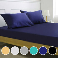 Luxury Satin Silk Deep Pocket Fitted Bed Sheet Mattress Cover Pillowcase Bedding
