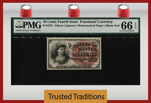 TT  FR 1257 10 CENT FOURTH ISSUE FRACTIONAL LARGE RED SEAL PMG 66 EPQ GEM UNC.