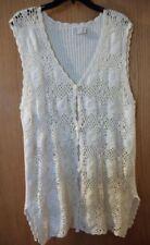 Vtg 80'S Pierre Cardin Off White Ivory Knit/Crochet Vest- Size L