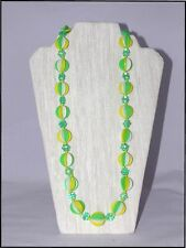 Vintage Necklace 1960's Groovy Green Yellow Neon Plastic Disk Hong Kong