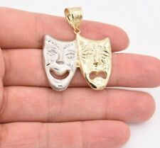 "Pendant Real 10K Yellow White Gold 1 3/4"" Comedy Tragedy Drama Theater Mask"