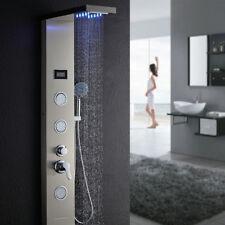 LED Duschpaneel Edelstahl Wasserfall Duschsäule Duschset Regendusche Massage DHL