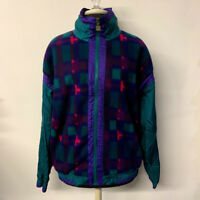 VTG Plaid Fleece Zip Front Windbreaker Jacket 90s Green Purple Womens Size XL
