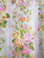 Vintage Texmade Truprest Queen Top Sheet Yellow Pink Floral Roses