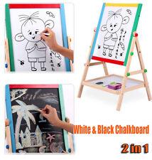 KIDS CHALK BOARD DOUBLE SIDED WOODEN BLACKBOARD WHITEBOARD 2 IN 1 EASEL STAND