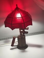 Vintage Clayton & Lambert Brass Blow Torch Lamp Ruby Red Stain Glass Shade