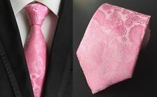 Paisley rosa con dibujos hechos a mano 100% Seda Tie