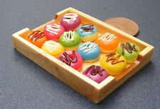 1:12 Scale 12 Loose Iced Doughnuts On A Wooden Tray Dolls House Accessory