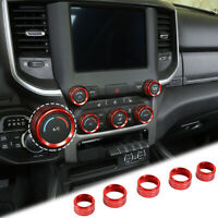 Center Console AC Radio Switch Knob Cover Trim Ring For Dodge RAM 1500 2018+ Red