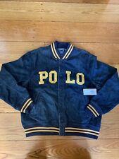 Polo Ralph Lauren Men's Blue Denim Logo Baseball Varsity 1967 Jacket $328 XL
