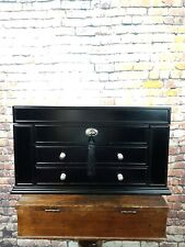Black Wooden Jewellery Box Case Storage Cabinet Lift Up Mirror And Drawers & Key