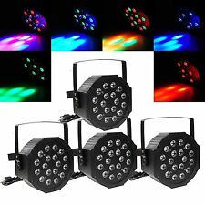 4X RGB 18LED PAR CAN DJ Stage Light DMX Lighting For Disco Party Wedding Light