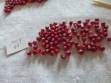 lot de 100  Perles en verre ronde lisse rouge  diam 8 mm