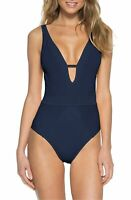 Becca by Rebecca Virtue Loreto Plunge One Piece Swimsuit Navy Blue L Large