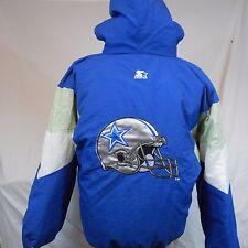 Vtg 90's Dallas Cowboys Hooded Winter Starter Jacket Parka size Large,Helmet,NFL