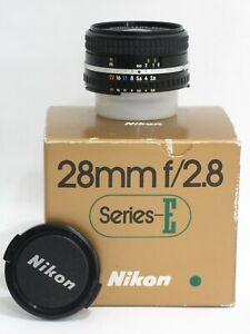 MINT IN BOX NIKON SERIES E 28MM F2.8 AIS+FILTER FOR NIKON F2AS FM3A D850 CAMERA