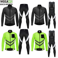 Men's Cycling Jersey & Padded Bib Pants Suit Full Zipper Long Sleeve Bike Jacket