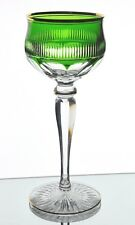 Bohemian French Gold Encrusted Emerald Green Cased Cut to Clear Wine Goblet