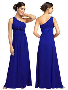 Womens Evening Formal Party Bridesmaid Maxi Dress One shoulder strap Chiffon