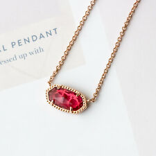 Kendra Scott Elisa Rose Gold Pendant Necklace in Berry New $65