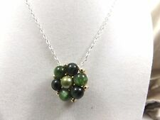Lisner Vintage Costume Necklace from Earring Green Glass Silver tone Jewelry