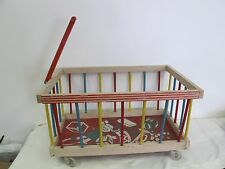 VINTAGE WOODEN TOY BOX WAGON WITH HANDLE WHEELS
