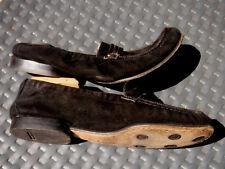 7 C Ferragamo Sport Black Leather Ballet Flat ballerina elastic bit loafer suede