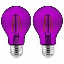 Sunlite 81081 LED Filament A19 Standard Colored Transparent 2 Pack Purple