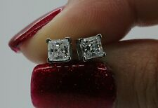 1 5ct Princess Cut Stud Earrings In Solid 14k Real White Gold Back