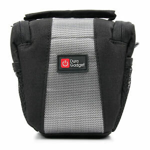 Small Black & Grey Shoulder Bag / Case With Padded Interior For Canon EOS M200