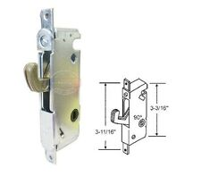 "Sliding Patio Door Mortise Lock w/o Faceplate, 90 Degree, 3-11/16"" Screw Holes"
