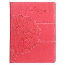 JOURNAL With God All Things Are Possible Pink Floral Journal (2013, Flexcover)