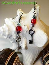 Red Blue Glass Bead Accent New Gunmetal Key Charm Dangle Earrings Feature Purple