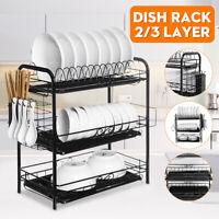 2/3 Layer Large Tier Iron Dish Drainer Cutlery Holder Rack Drip Tray Kitchen SPZ