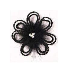 Black Brooch Fascinator Feather Rhinestones FLOWER Prom Corsage Hair Clip 4""