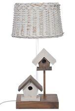 Lampe en bois en forme de nichoirs abat-jour en rotin
