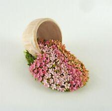 Dollhouse Miniature Artisan Handmade Spilled Pot of Impatiens Flowers, #2