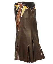 NEW ROBERTO CAVALLI LEATHER LONG SKIRT CHOCOLATE APPLIQUE size S/M