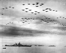 New 8x10 World War II Photo: Aircraft Celebrate Surrender over USS MISSOURI
