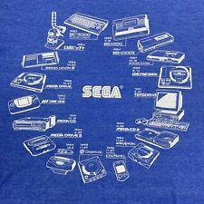 E3 2019 History of SEGA Blue T-Shirt Cotton Blend Crew Neck Vintage Gaming Large