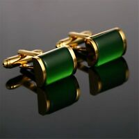 NEW Green Crystal Cufflinks Mens Wedding Novelty Square Cuff Links Fashion Gift