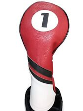 Majek Retro Golf #1 Driver Headcover Red Black and White Vintage Leather Style