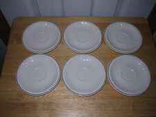 Set 6 Saucers Villeroy & Boch Cortina 2000 Gold Trim, Off White, Embossed Plumes