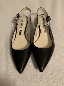 ANNE KLEIN Women's Black Shoes With Leather Upper Low Heel Size 7.5 M