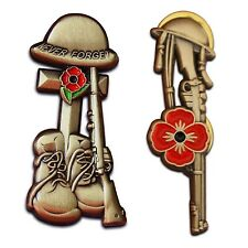Poppy Badge Helmet Rifle Boots Cross 2x Pin 10% donated to Charities 2019 Badges